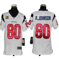 Nike Texans #80 Andre Johnson White With C Patch Youth Stitched NFL Elite Jersey