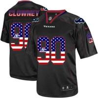 Nike Texans #90 Jadeveon Clowney Black Men's Stitched NFL Elite USA Flag Fashion Jersey
