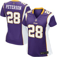 Nike Vikings #28 Adrian Peterson Purple Team Color Women's NFL Game Jersey