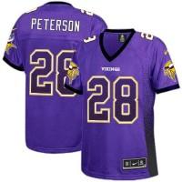 Nike Vikings #28 Adrian Peterson Purple Team Color Women's Stitched NFL Elite Drift Fashion Jersey