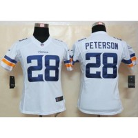 Nike Vikings #28 Adrian Peterson White Women's Stitched NFL Limited Jersey