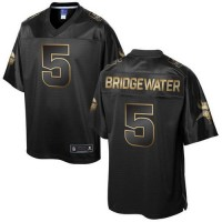 Nike Vikings #5 Teddy Bridgewater Pro Line Black Gold Collection Men's Stitched NFL Game Jersey
