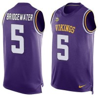 Nike Vikings #5 Teddy Bridgewater Purple Team Color Men's Stitched NFL Limited Tank Top Jersey