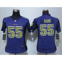 Nike Vikings #55 Anthony Barr Purple Team Color Women's Stitched NFL Elite Strobe Jersey