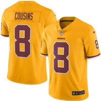 Nike Washington Redskins #8 Kirk Cousins Gold Men's Stitched NFL Limited Rush Jersey