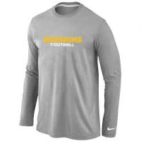 Nike Washington Redskins Authentic Font Long Sleeve T-Shirt Grey