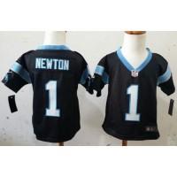 Toddler Nike Panthers #1 Cam Newton Black Team Color Stitched NFL Elite Jersey