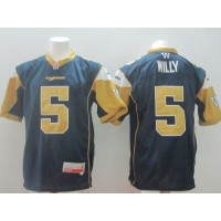Winnipeg Blue Bombers #5 Drew Willy Navy Blue Stitched CFL Jersey