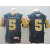 Winnipeg Blue Bombers #5 Drew Willy Navy Blue Stitched CFL Jersey