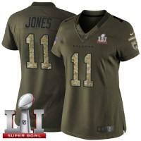 Women's  Nike Atlanta Falcons #11 Julio Jones Green Super Bowl LI 51 Stitched NFL Limited Salute to Service Jersey