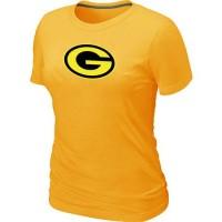 Women's Green Bay Packers Neon Logo Charcoal T-shirt Yellow