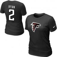 Women's Nike Atlanta Falcons #2 Matt Ryan Name & Number T-Shirt Black