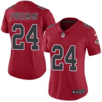 Women's Nike Atlanta Falcons #24 Devonta Freeman Red Stitched NFL Limited Rush Jersey