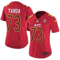 Women's Nike Baltimore Ravens #73 Marshal Yanda Red Stitched NFL Limited AFC 2017 Pro Bowl Jersey