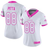 Women's Nike Baltimore Ravens #88 Dennis Pitta White Pink Stitched NFL Limited Rush Fashion Jersey