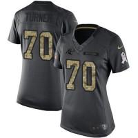 Women's Nike Carolina Panthers #70 Trai Turner Anthracite Stitched NFL Limited 2016 Salute to Service Jersey