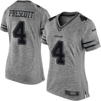 Women's Nike Dallas Cowboys #4 Dak Prescott Gray Stitched NFL Limited Gridiron Gray Jersey