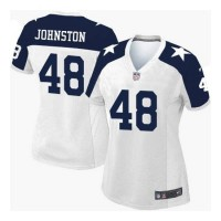 Women's Nike Dallas Cowboys #48 Daryl Johnston White Thanksgiving Throwback Stitched NFL Elite Jersey