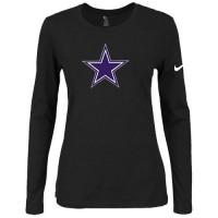 Women's Nike Dallas Cowboys Of The City Long Sleeve Tri-Blend NFL T-Shirt Black