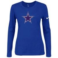 Women's Nike Dallas Cowboys Of The City Long Sleeve Tri-Blend NFL T-Shirt Blue