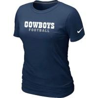 Women's Nike Dallas Cowboys Sideline Legend Authentic Font T-Shirt D.Blue
