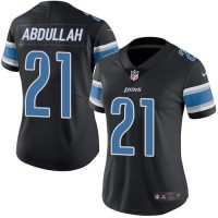 Women's Nike Detroit Lions #21 Ameer Abdullah Black Stitched NFL Limited Rush Jersey