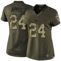 Women's Nike Giants #24 Eli Apple Green Stitched NFL Limited Salute to Service Jersey