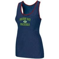 Women's Nike Green Bay Packers Heart & Soul Tri-Blend Racerback Stretch Tank Top Blue