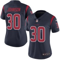 Women's Nike Houston Texans #30 Kevin Johnson Navy Blue Stitched NFL Limited Rush Jersey