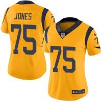 Women's Nike Los Angeles Rams #75 Deacon Jones Limited Gold Rush NFL Jersey
