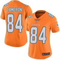Women's Nike Miami Dolphins #84 Jordan Cameron Orange Stitched NFL Limited Rush Jersey