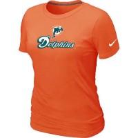 Women's Nike Miami Dolphins Authentic Logo T-Shirt Orange