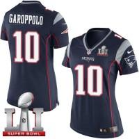 Women's Nike New England Patriots #10 Jimmy Garoppolo Navy Blue Team Color Super Bowl LI 51 Stitched NFL New Elite Jersey