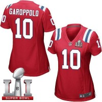 Women's Nike New England Patriots #10 Jimmy Garoppolo Red Alternate Super Bowl LI 51 Stitched NFL Elite Jersey