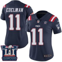 Women's Nike New England Patriots #11 Julian Edelman Navy Blue Super Bowl LI Champions Stitched NFL Limited Rush Jersey