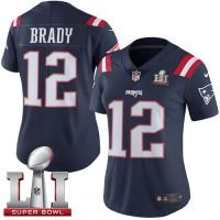 Women's Nike New England Patriots #12 Tom Brady Navy Blue Super Bowl LI 51 Stitched NFL Limited Rush Jersey