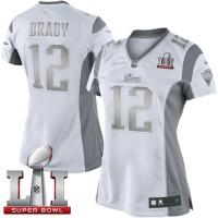 Women's Nike New England Patriots #12 Tom Brady White Super Bowl LI 51 Stitched NFL Limited Platinum Jersey