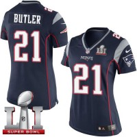Women's Nike New England Patriots #21 Malcolm Butler Navy Blue Team Color Super Bowl LI 51 Stitched NFL New Elite Jersey