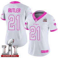 Women's Nike New England Patriots #21 Malcolm Butler White Pink Super Bowl LI 51 Stitched NFL Limited Rush Fashion Jersey
