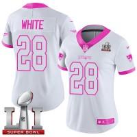 Women's Nike New England Patriots #28 James White White Pink Super Bowl LI 51 Stitched NFL Limited Rush Fashion Jersey