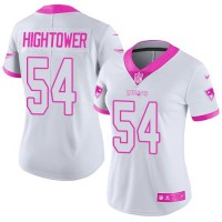 Women's Nike New England Patriots #54 Dont'a Hightower White Pink Stitched NFL Limited Rush Fashion Jersey