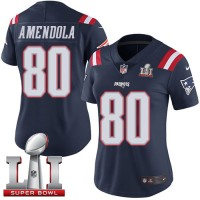 Women's Nike New England Patriots #80 Danny Amendola Navy Blue Super Bowl LI 51 Stitched NFL Limited Rush Jersey