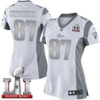 Women's Nike New England Patriots #87 Rob Gronkowski White Super Bowl LI 51 Stitched NFL Limited Platinum Jersey