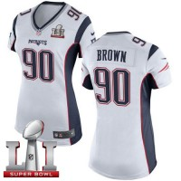 Women's Nike New England Patriots #90 Malcom Brown White Super Bowl LI 51 Stitched NFL New Elite Jersey
