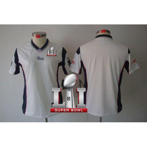9ba71ef7a7b Women s Nike New England Patriots Blank White Super Bowl LI 51 Stitched NFL  Limited Jersey
