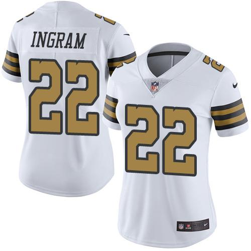 b5c2d9c020e Women s Nike New Orleans Saints  22 Mark Ingram White Stitched NFL Limited  Rush Jersey