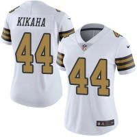 Women's Nike New Orleans Saints #44 Hau'oli Kikaha White Stitched NFL Limited Rush Jersey