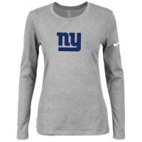 Women's Nike New York Giants Of The City Long Sleeve Tri-Blend NFL T-Shirt Light Grey-2