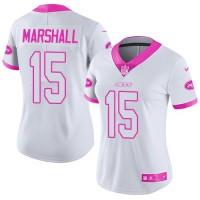 Women's Nike New York Jets #15 Brandon Marshall White Pink Stitched NFL Limited Rush Fashion Jersey