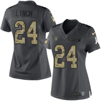Women's Nike Oakland Raiders #24 Marshawn Lynch Black Stitched NFL Limited 2016 Salute to Service Jersey